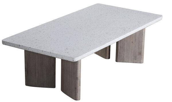 terrazzo top and wood base coffee table