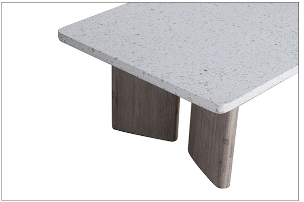 terrazzo top and wood base coffee table close up