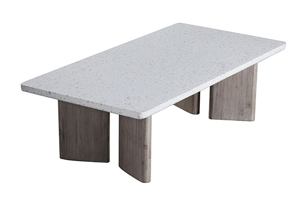 terrazzo top and wood base coffee table top view