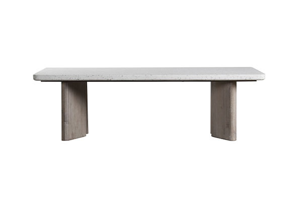terrazzo top and wood base coffee table side view