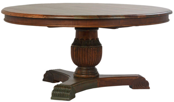 wood round dining table
