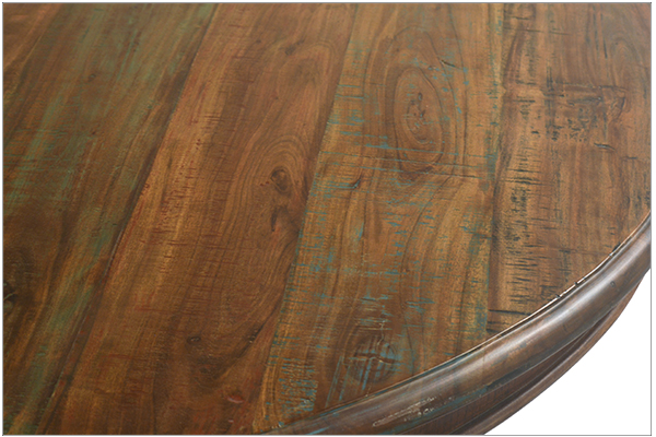 round wood dining table close up