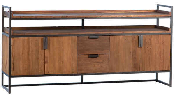 rustic wood and iron sideboard