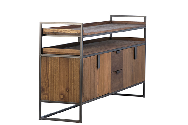 wood and iron sideboard side view