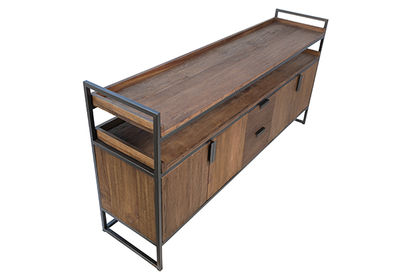 wood and iron sideboard top view