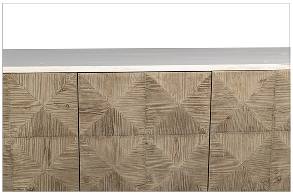 reclaimed wood sideboard with white body front close up
