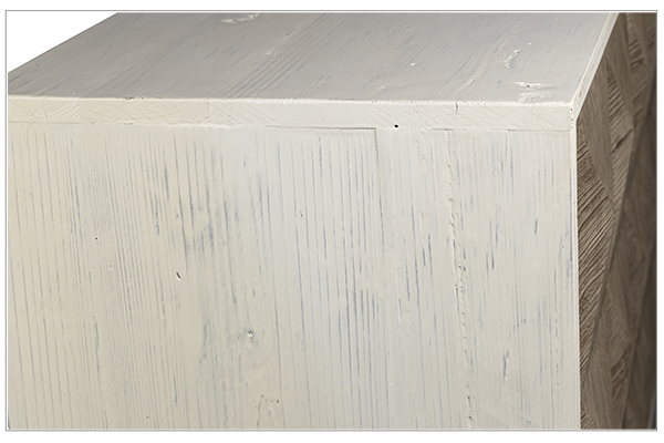reclaimed wood sideboard with white body side close up