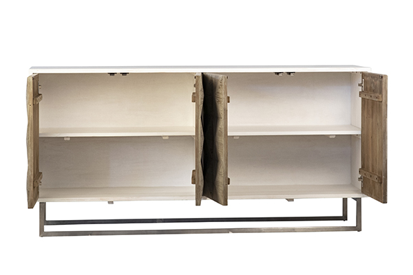reclaimed wood sideboard with white body with open doors