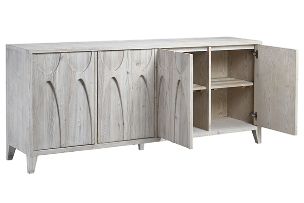 white wash wood sideboard with open doors