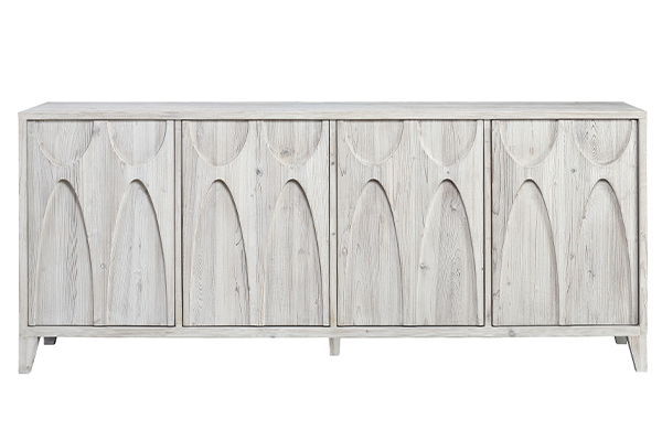 white wash wood sideboard front view