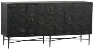 Harten Black Distressed Media Cabinet