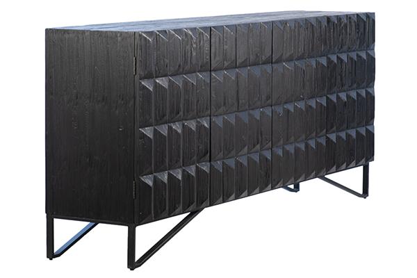 black wood carved sideboard side view