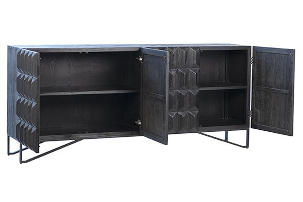 black wood sideboard with open doors