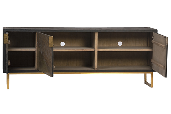 wood and brass sideboard with open doors
