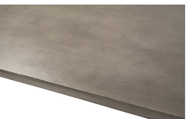 Concrete top and steel base dining table outdoor top close up