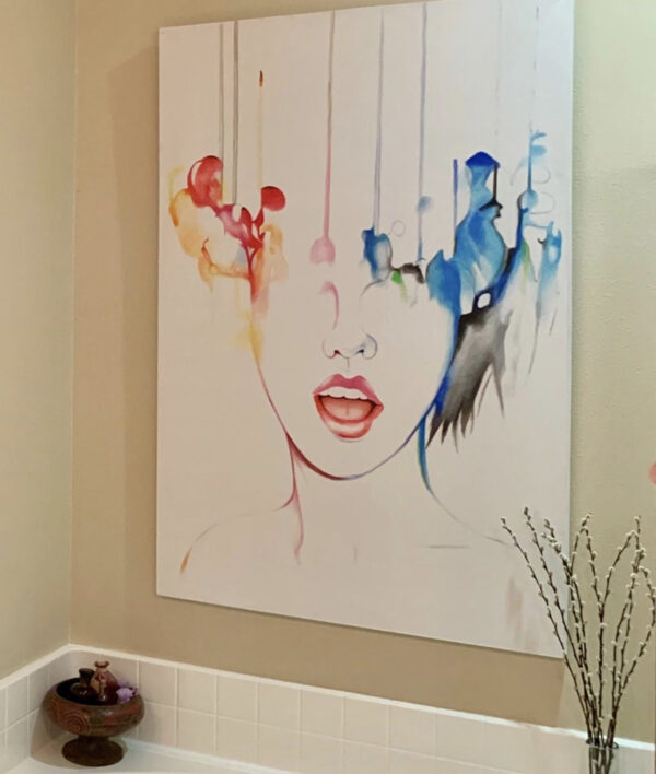 abstract portrait of women in melting colors in bathroom setting