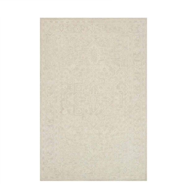 off white / bone large wool area rug