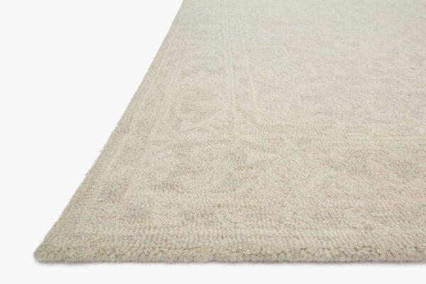 off white / bone large wool area rug close up