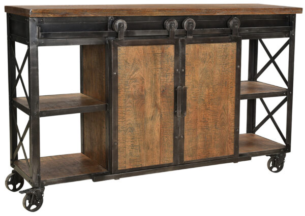 wood and iron sideboard on wheels with c