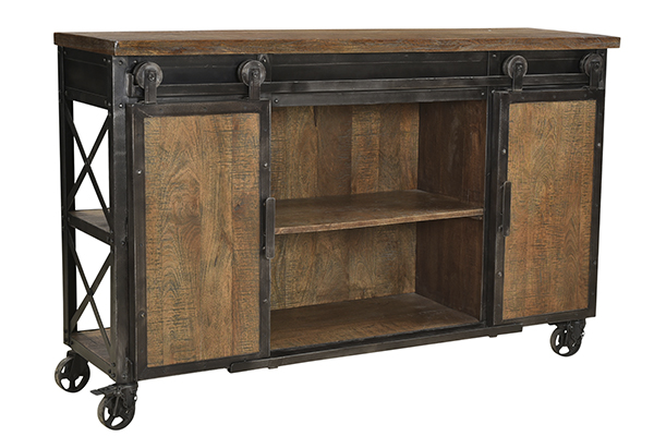 wood and iron sideboard cart