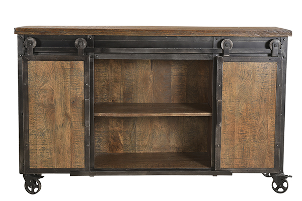wood and iron sideboard cart with open doors