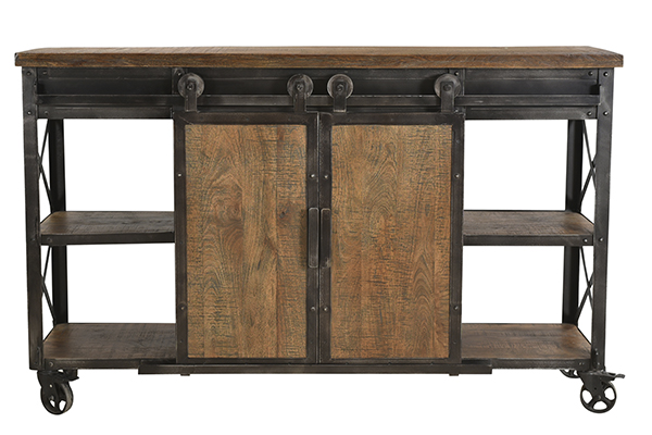 wood and iron sideboard cart front view
