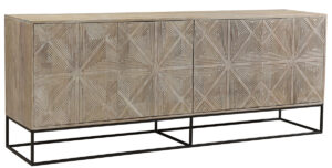 Carved Mango Wood and Iron Sideboard