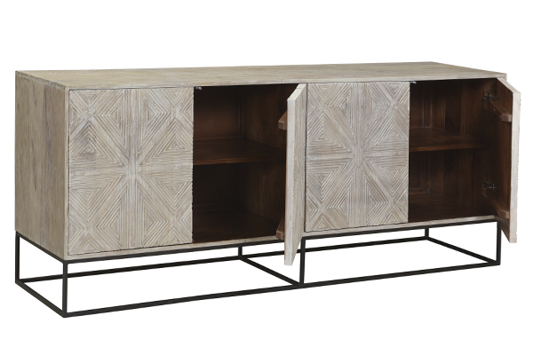 carved wood and iron sideboard with open doors
