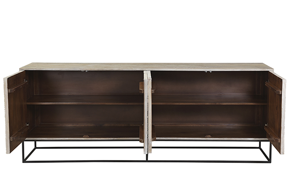 carved wood and metal base sideboard wide open doors