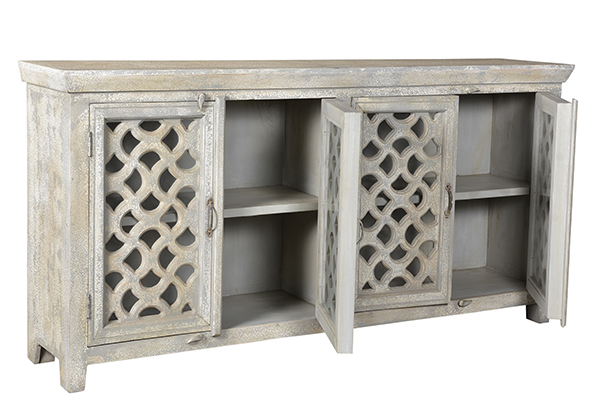 distressed white wash wood sideboard with open doors