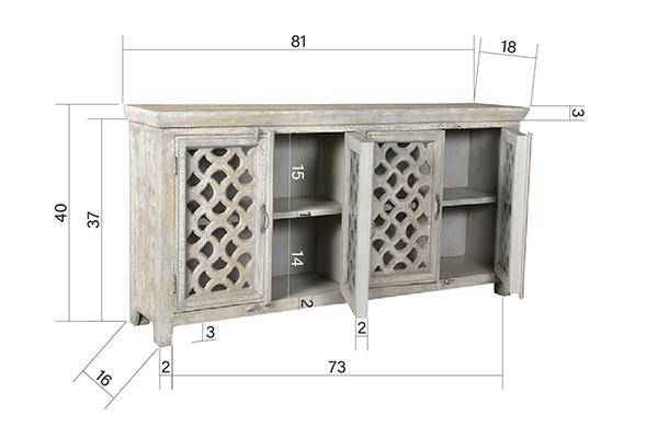 distressed white wash wood sideboard