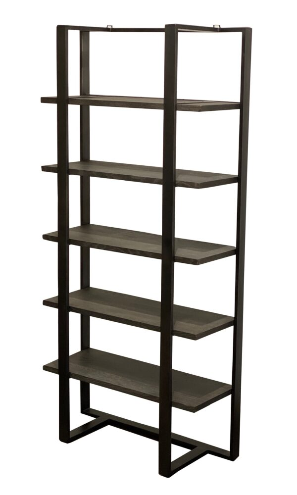 dark grey washed wood and iron bookcase side view