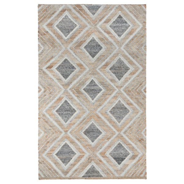 geometric design blue and ivory rug