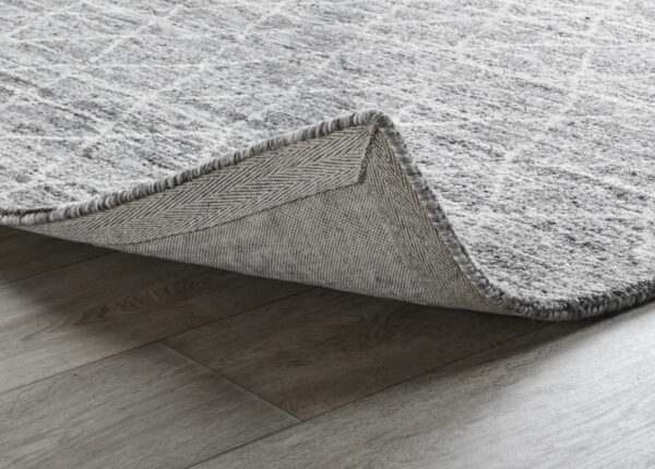 gray diamond pattern wool rug