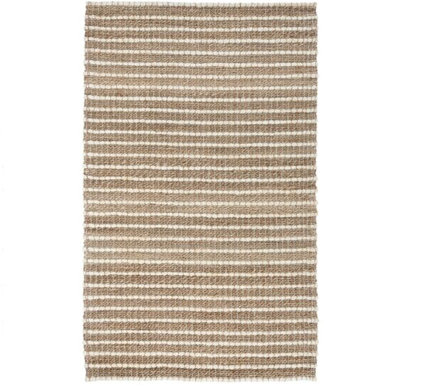 natural jute rug with ivory stripes