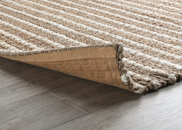 natural jute rug with ivory stripes close up