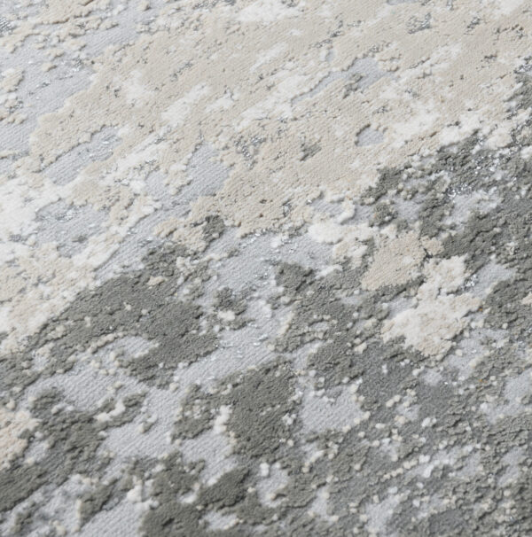 birch and silver abstract rug close up