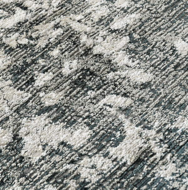 black and gray patterned rug close up