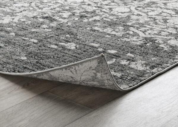 grey and black patterned rug