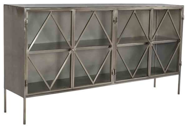 Silver metal sideboard with 4 glass doors
