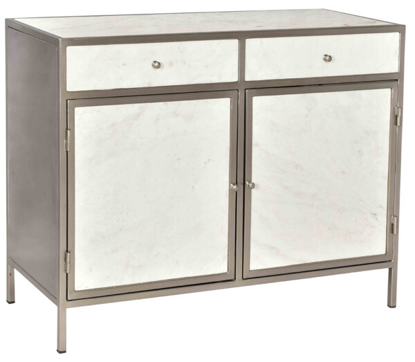 White marble and iron cabinet with 2 doors and 2 drawers