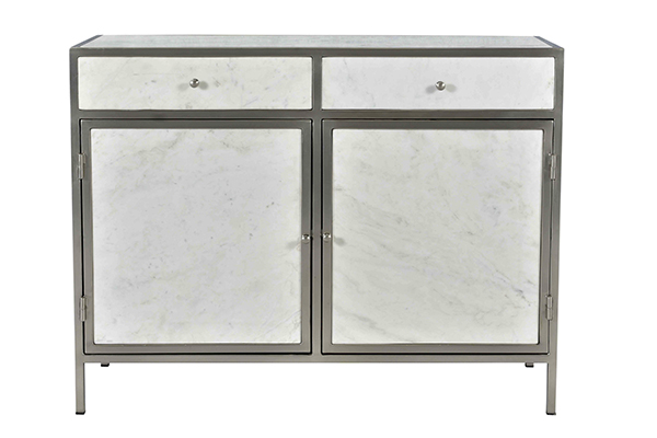 White marble and iron cabinet with 2 doors and 2 drawers front view