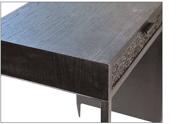 Black wood and iron desk with 5 drawers top close up