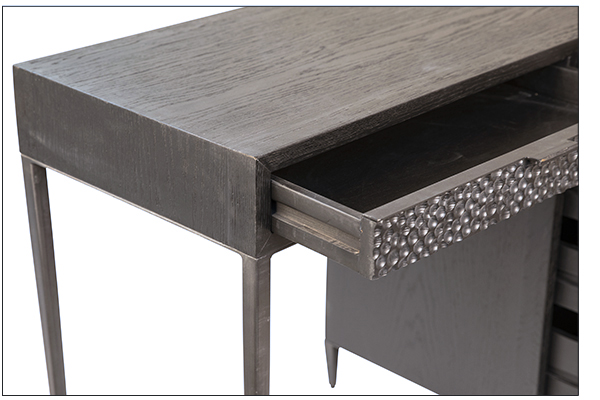 Black wood and iron desk with 5 drawers close up