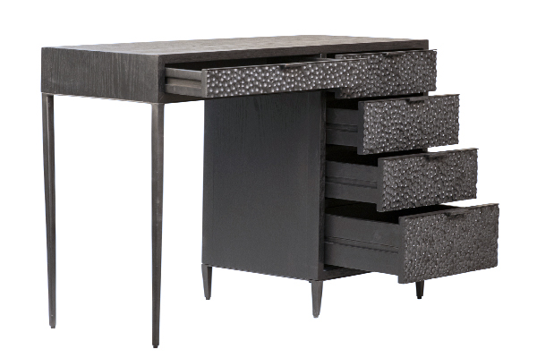 Black wood and iron desk with open 5 drawers