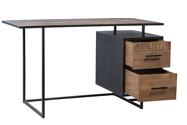 Wood and iron base desk with 2 open drawers