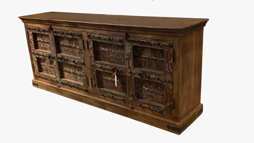 Distressed Teak Sideboard with Antique Doors