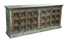 Distressed Turquoise Teak Sideboard with Antique Doors