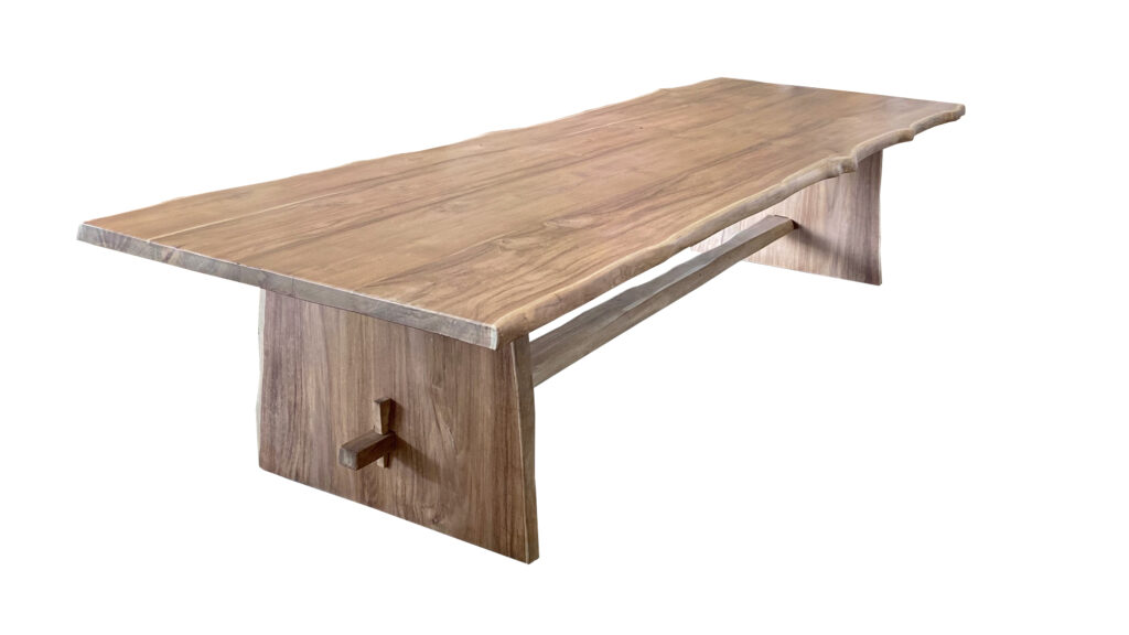 Natural Teak Live Edge Dining Table