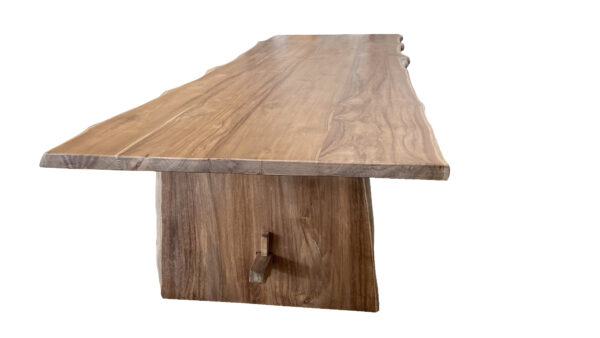 natural wood tone live edge dining table